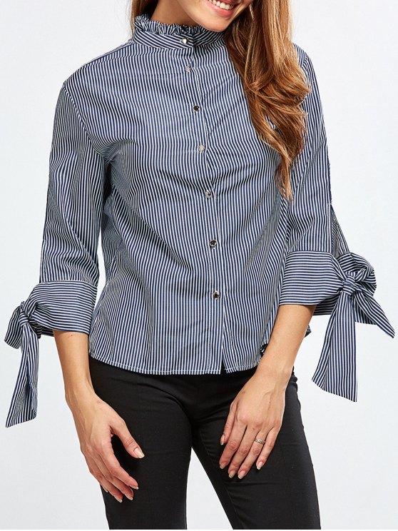 Back Buttons Striped Blouse - BLUE AND WHITE S Mobile