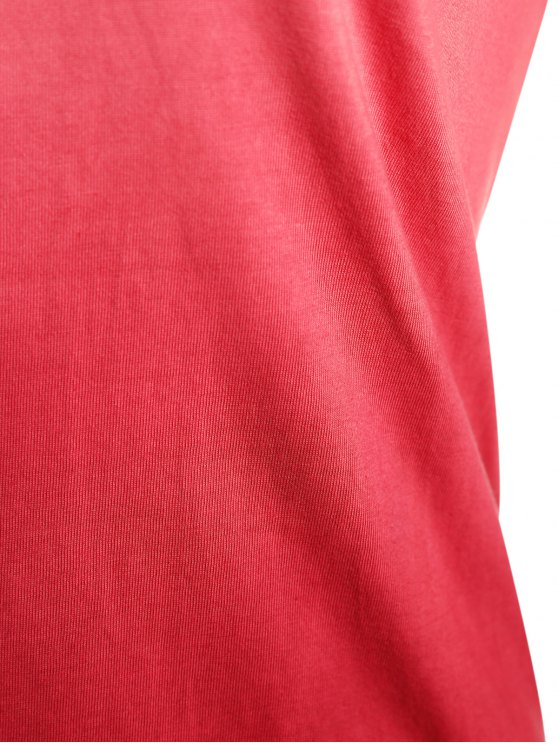 Ombre V Neck Asymmetrical Tee - RED XL Mobile