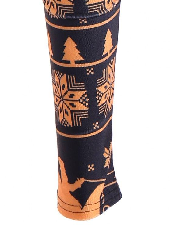 Snowflake Print Skinny Leggings - YELLOW AND BLACK XL Mobile
