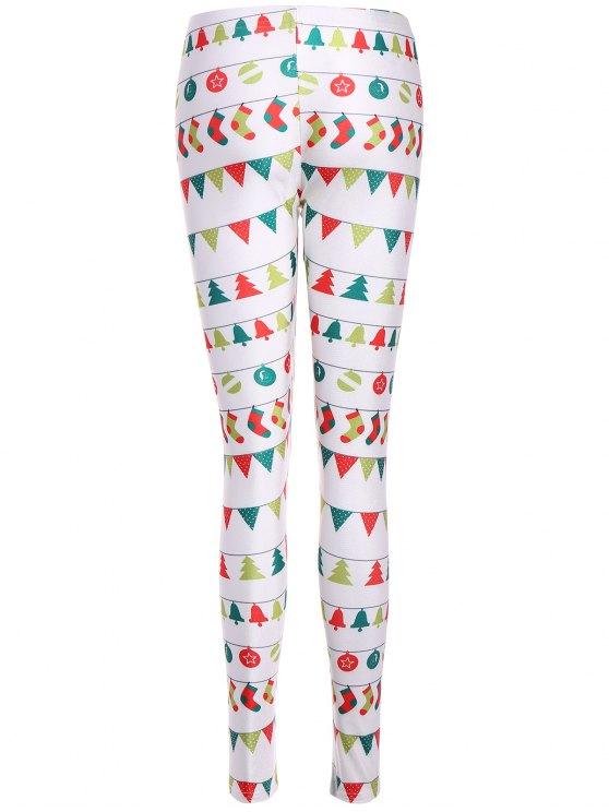 Christmas Holiday Skinny Leggings - WHITE XL Mobile