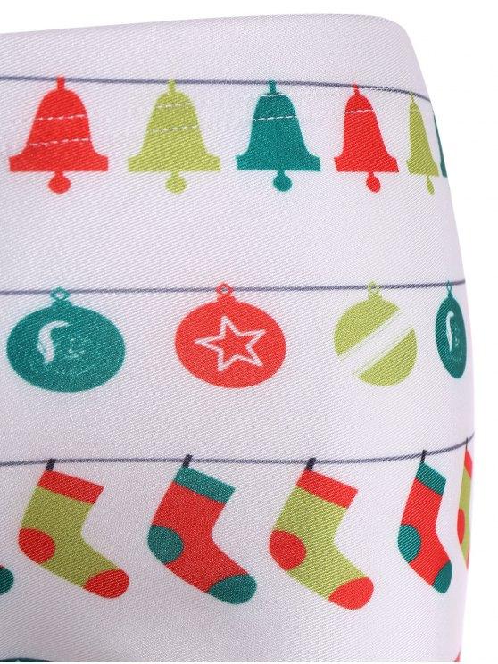 Christmas Holiday Skinny Leggings - WHITE L Mobile