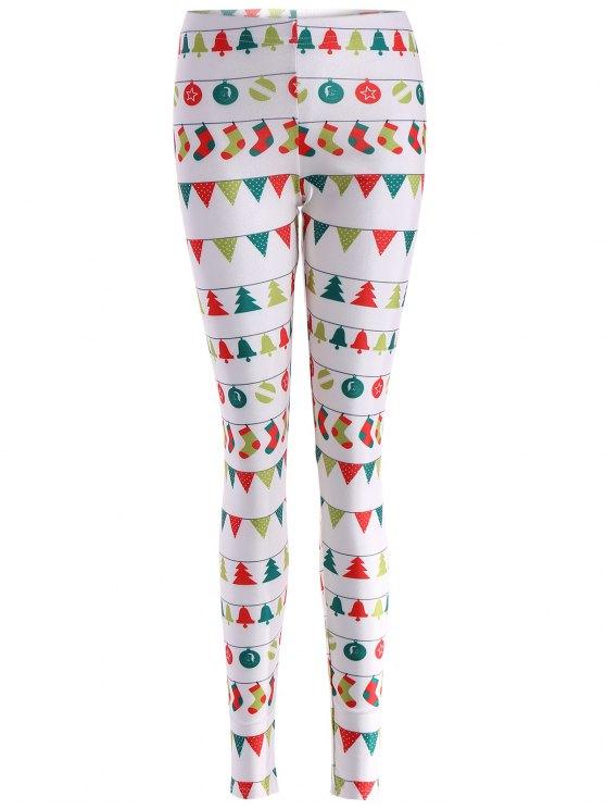 latest Christmas Holiday Skinny Leggings - WHITE L