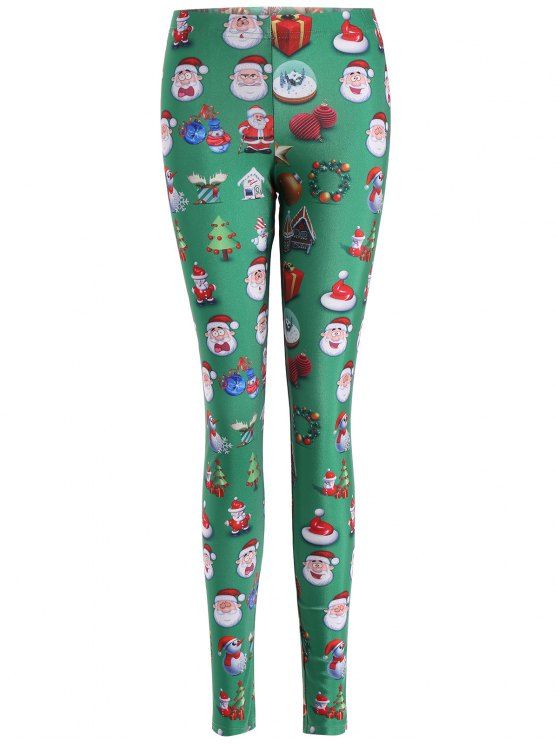 fancy Santa Claus Skinny Leggings - GREEN L