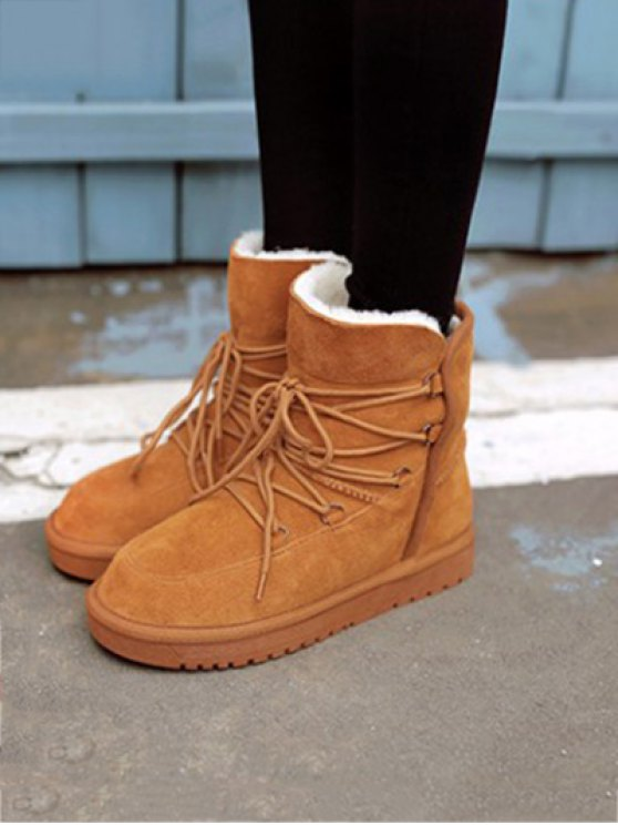 Suede Tie Up Tie Up Snow Boots - LIGHT BROWN 39 Mobile