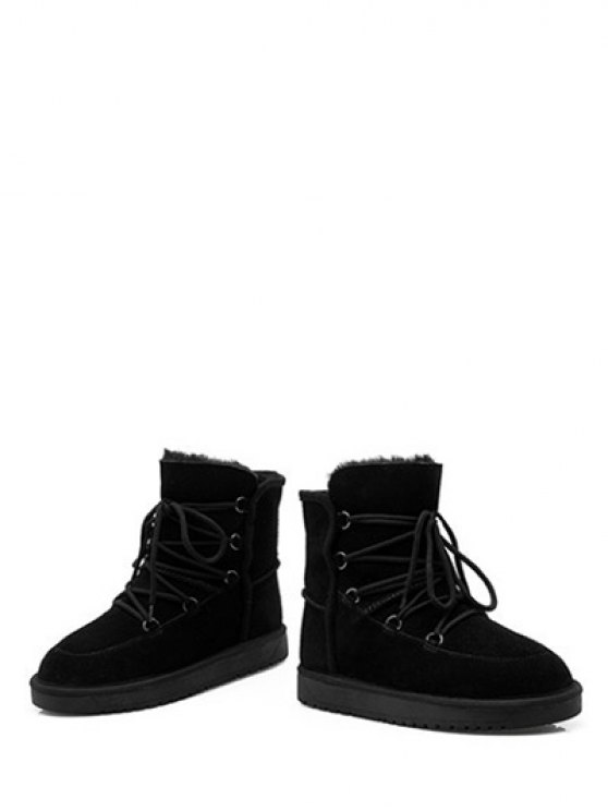 Suede Tie Up Tie Up Snow Boots - BLACK 39 Mobile