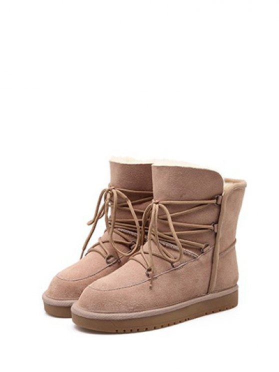 Suede Tie Up Tie Up Snow Boots - APRICOT 39 Mobile