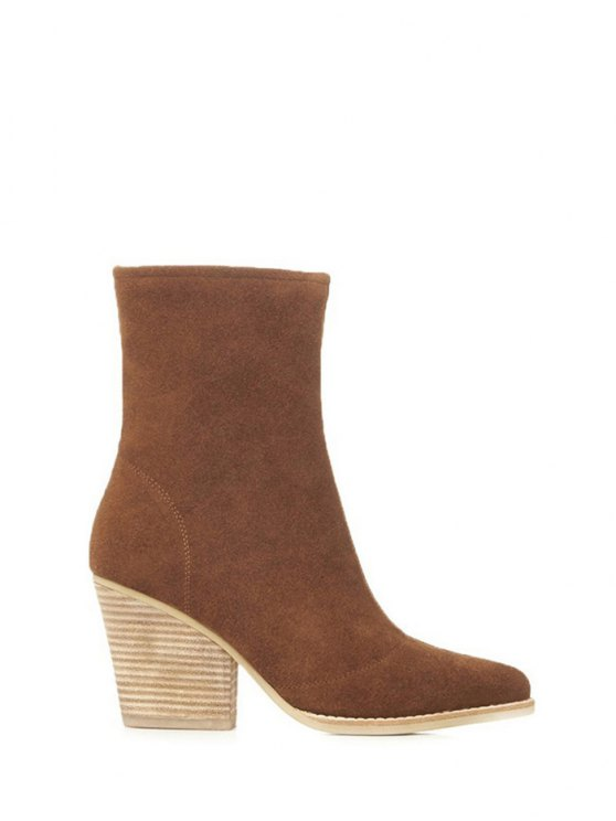 Chunky Heel Pointed Toe Zip Short Boots - BROWN 38 Mobile