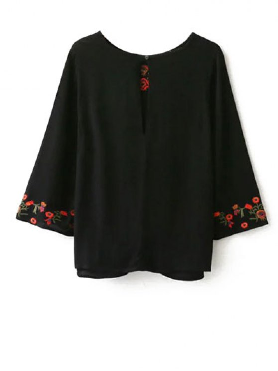 Embroidered Front Knot Blouse - BLACK M Mobile