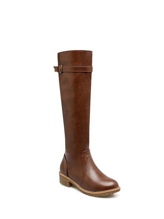 Vintage Buckle Strap Knee High Boots - BROWN 37 Mobile