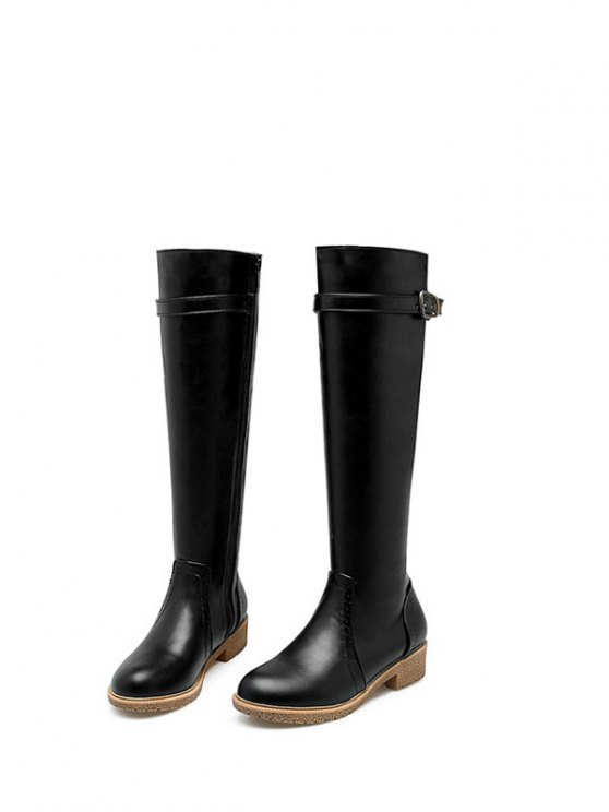 Vintage Buckle Strap Knee High Boots - BLACK 38 Mobile
