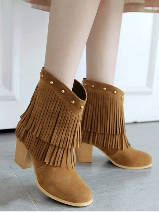 Chunky Heel Rivet Fringe Boots - BROWN 39 Mobile