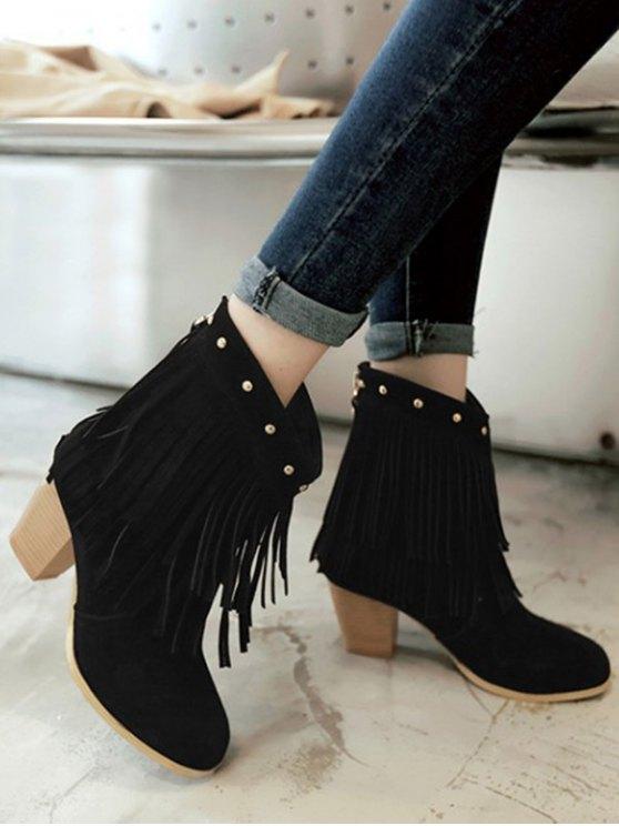 Chunky Heel Rivet Fringe Boots - BLACK 37 Mobile