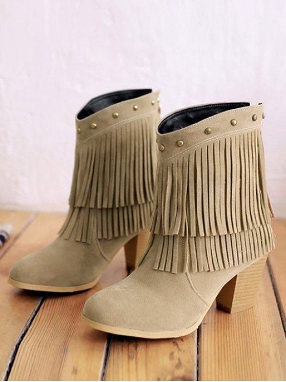 Chunky Heel Rivet Fringe Boots - LIGHT KHAKI 39 Mobile