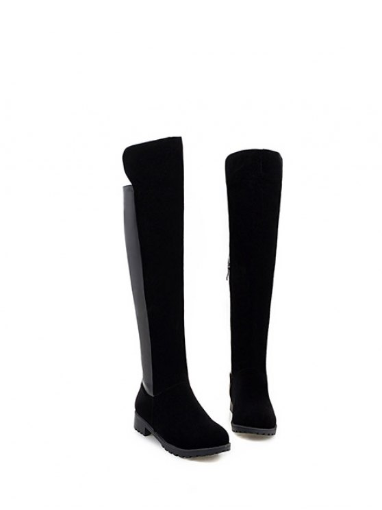 PU Leather Panel Knee High Boots - BLACK 38 Mobile
