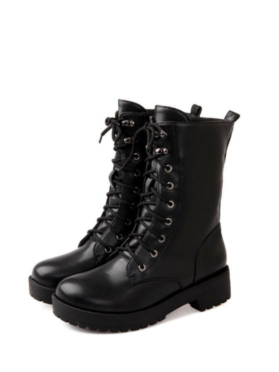 Chunky Heel Mid Calf Combat Boots - BLACK 38 Mobile