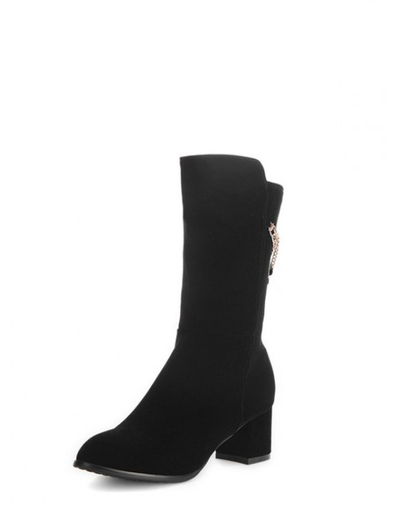 Chunky Heel Metallic Chains Mid Calf Boots - BLACK 38 Mobile