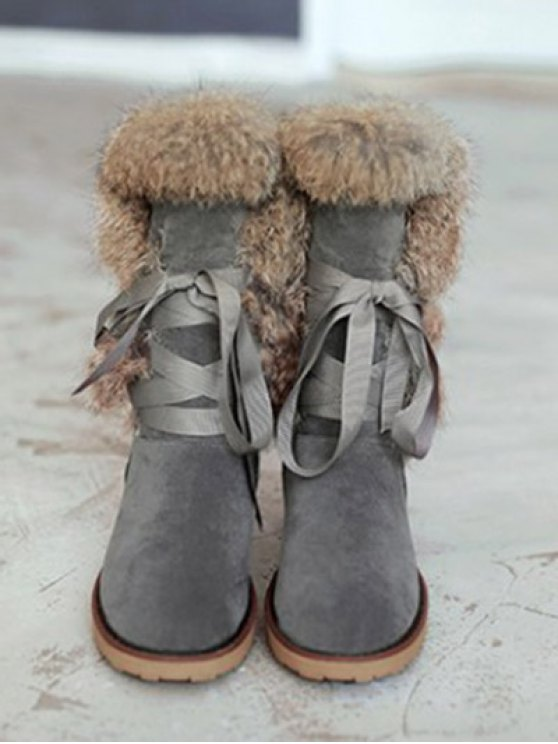 Ribbon Furry Snow Boots - GRAY 37 Mobile