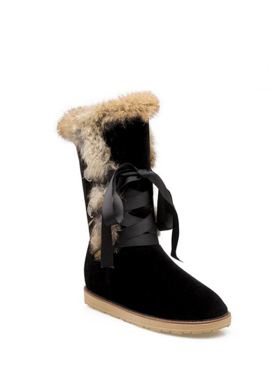 Ribbon Furry Snow Boots - BLACK 37 Mobile