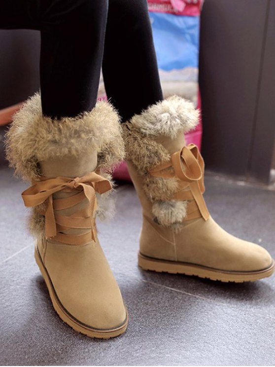 Ribbon Furry Snow Boots - APRICOT 37 Mobile