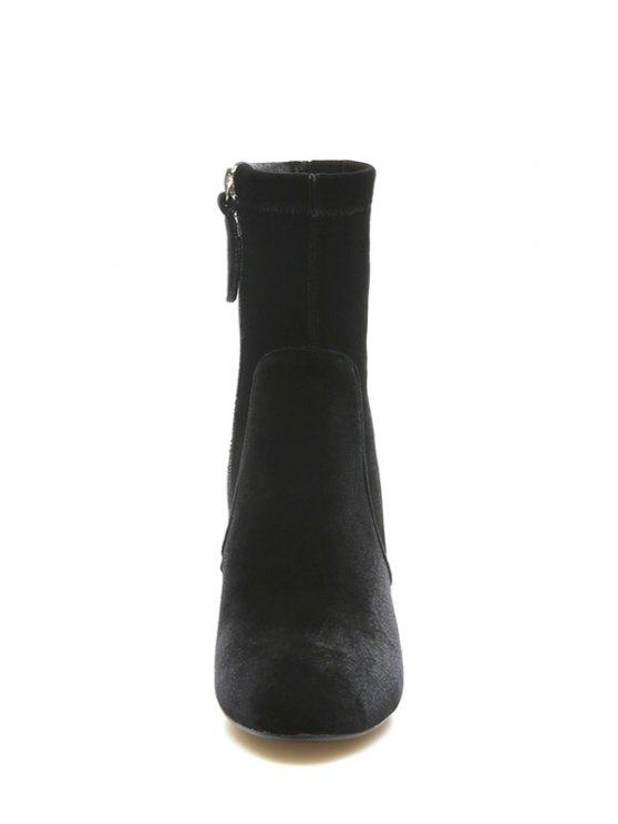 Chunky Heel Velvet Sock Boots - BLACK 39 Mobile