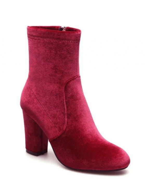 Chunky Heel Velvet Sock Boots - RED 37 Mobile