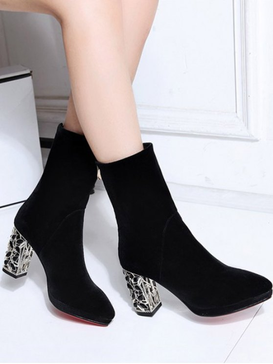 Metal Chunky Heel Velvet Sock Boots - BLACK 39 Mobile