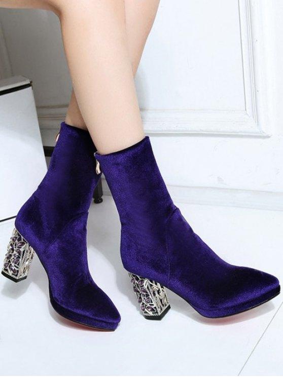 Metal Chunky Heel Velvet Sock Boots - PURPLE 38 Mobile