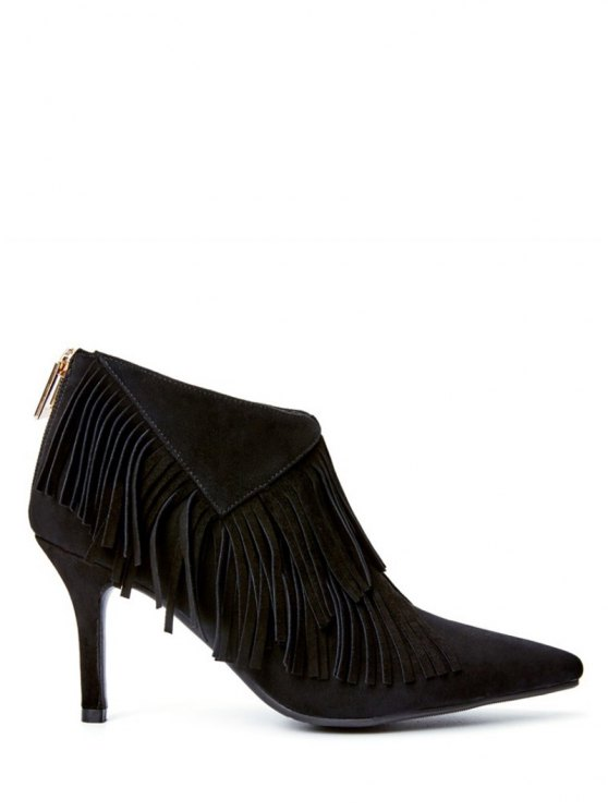 Fringe Stiletto Heel Pointed Toe Boots - BLACK 38 Mobile