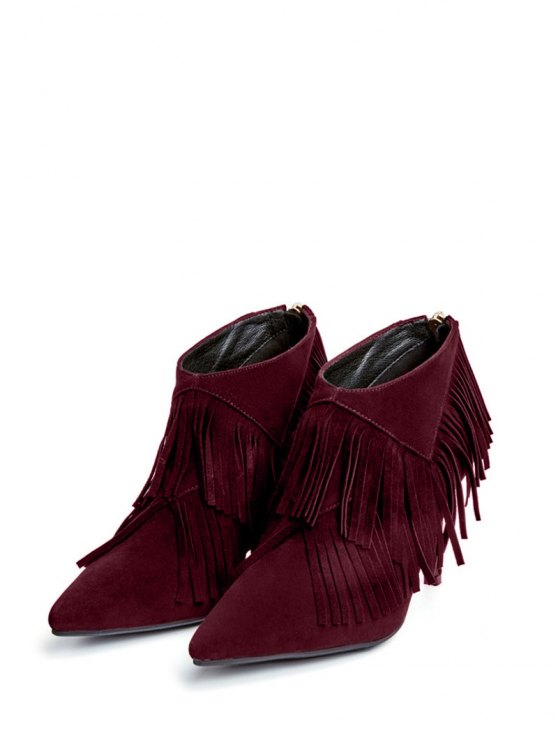 Fringe Stiletto Heel Pointed Toe Boots - WINE RED 39 Mobile
