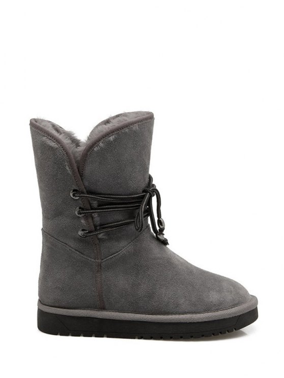 Fold Down Fuzzy Snow Boots - GRAY 38 Mobile