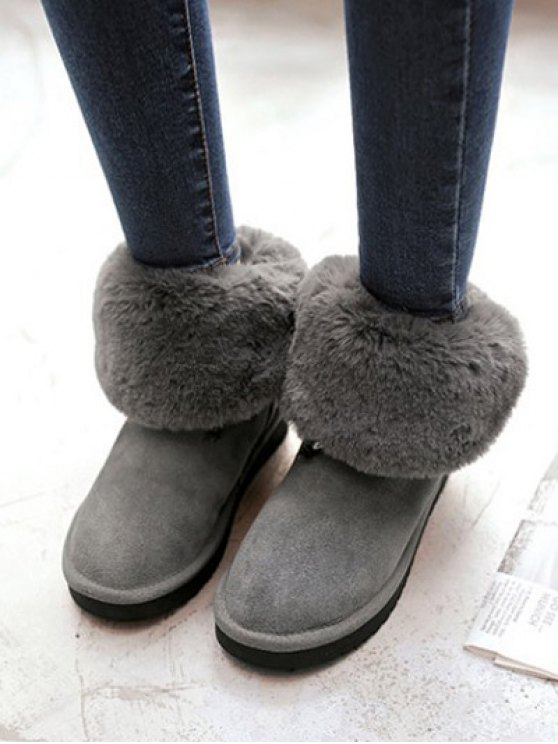 Fold Down Fuzzy Snow Boots - GRAY 37 Mobile
