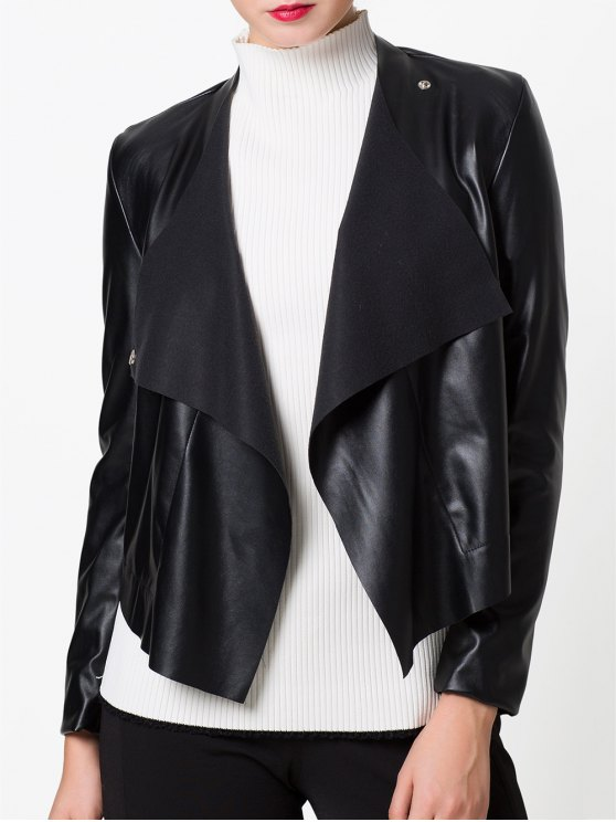 Snap Button Biker Jacket - BLACK L Mobile
