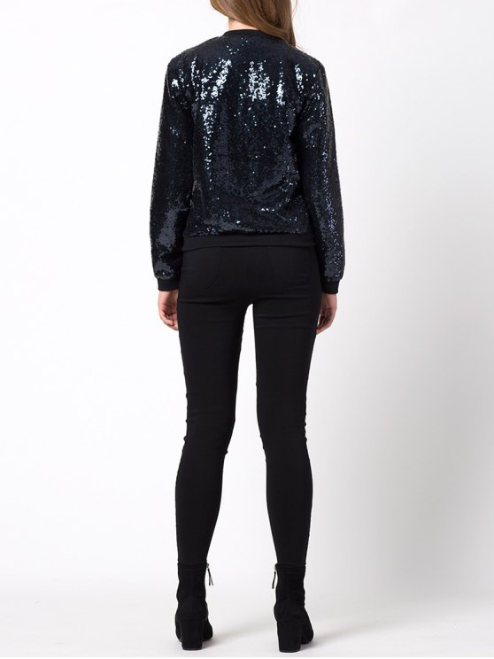 Zip-Up Sequined Jacket - BLACK M Mobile