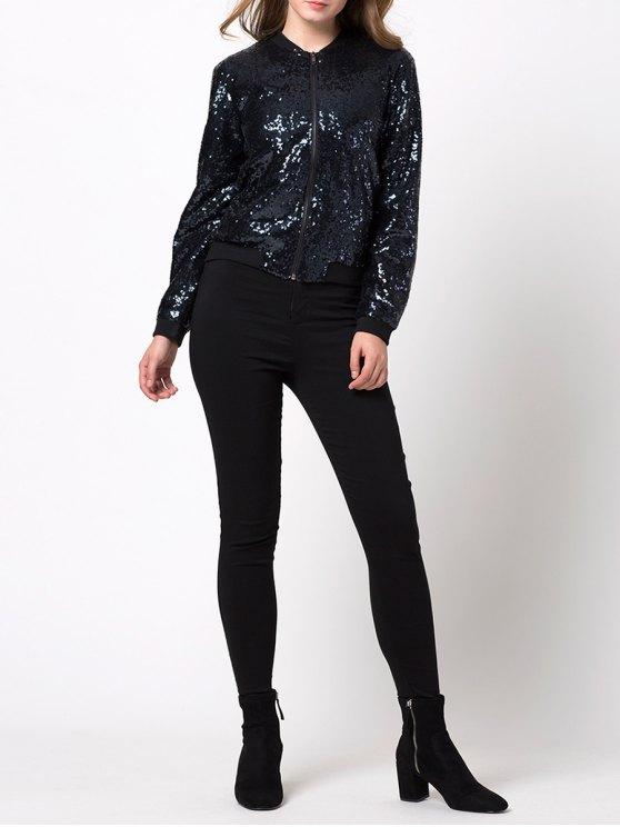 Zip-Up Sequined Jacket - BLACK M Mobile