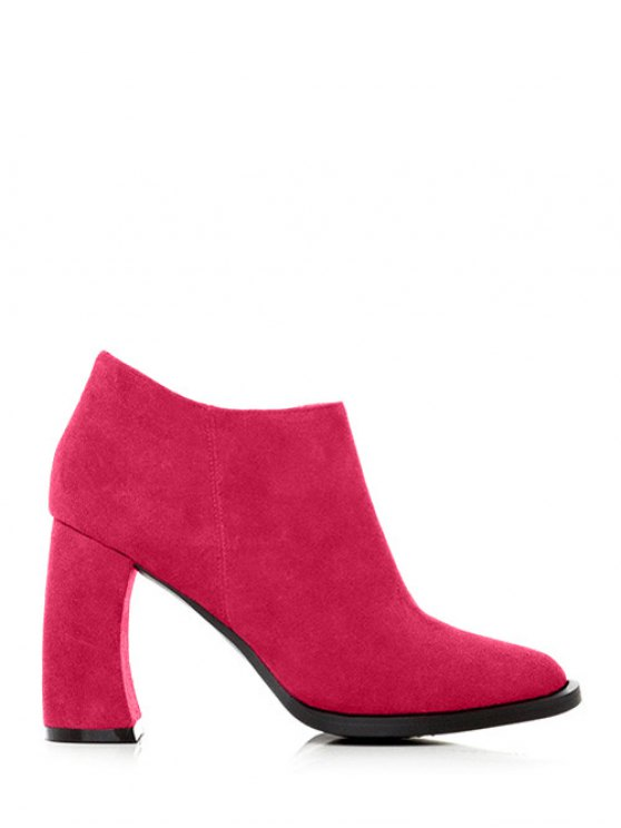 Side Zip Suede Chunky Heel Ankle Boots - ROSE RED 37 Mobile