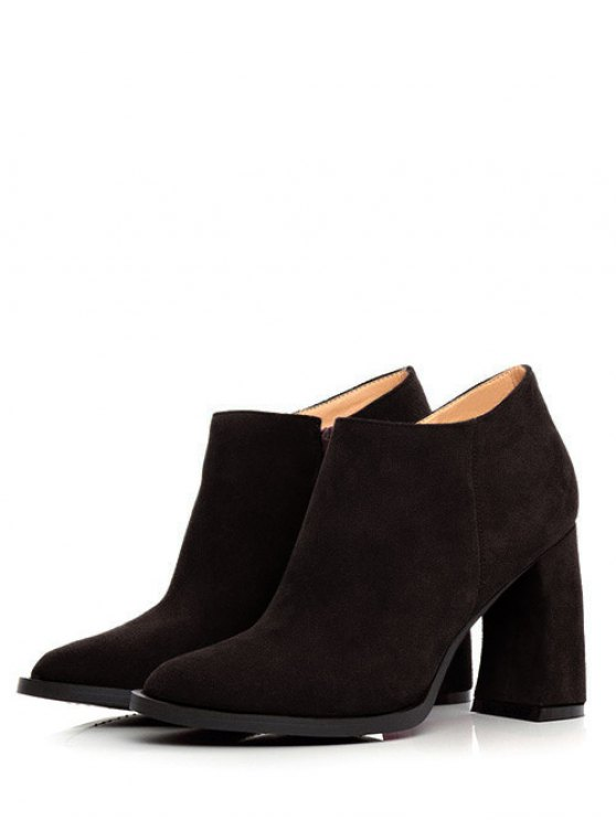 Side Zip Suede Chunky Heel Ankle Boots - BLACK 39 Mobile