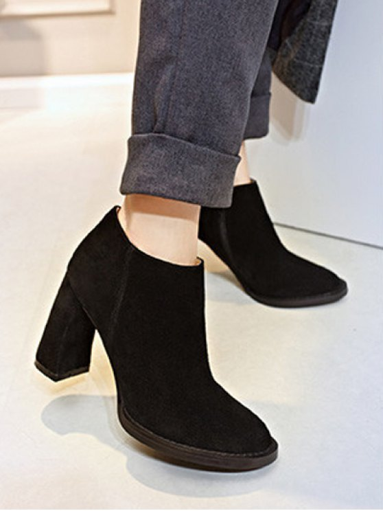 Side Zip Suede Chunky Heel Ankle Boots - BLACK 37 Mobile