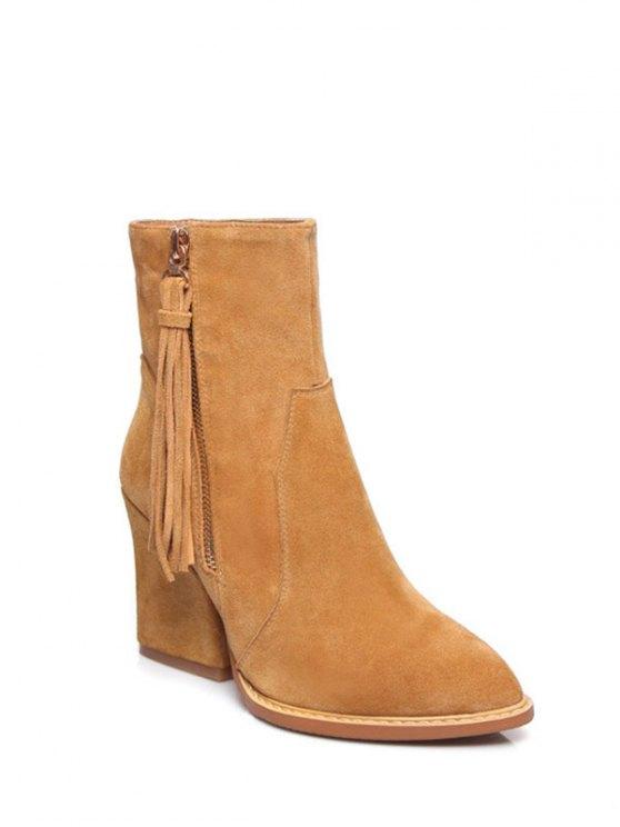 Chunky Heel Tassel Short Boots - LIGHT BROWN 37 Mobile