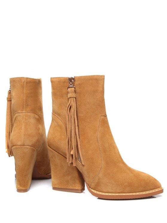 Chunky Heel Tassel Short Boots - LIGHT BROWN 38 Mobile