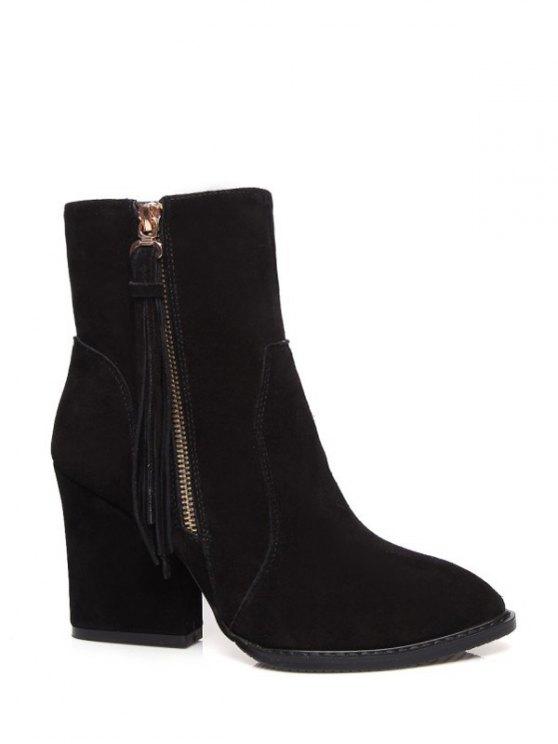 Chunky Heel Tassel Short Boots - BLACK 38 Mobile