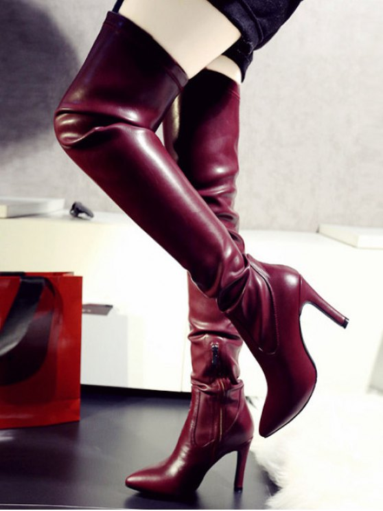 Stiletto Heel Pointed Toe Leather Thigh Boots - WINE RED 39 Mobile