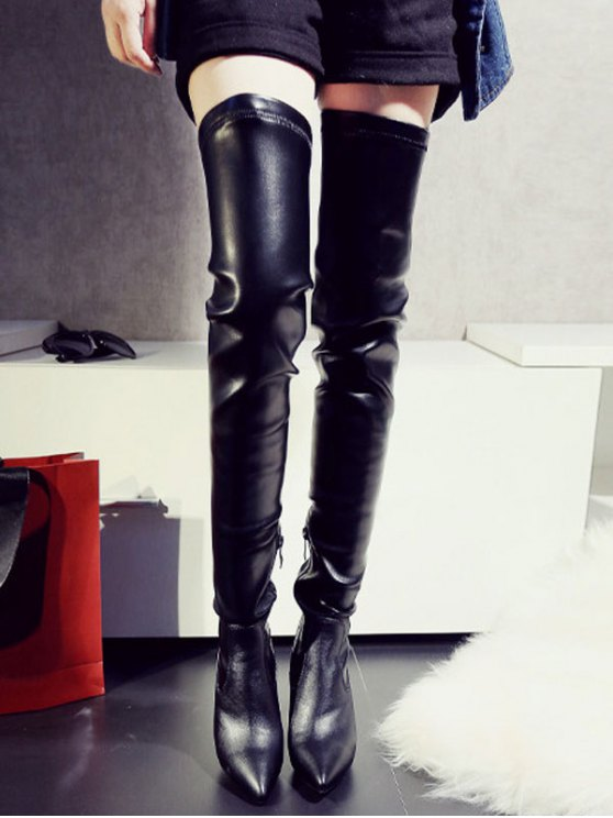 Stiletto Heel Pointed Toe Leather Thigh Boots - BLACK 37 Mobile