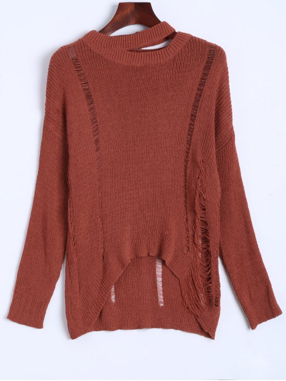 Oversized Distressed Sweater - JACINTH ONE SIZE Mobile