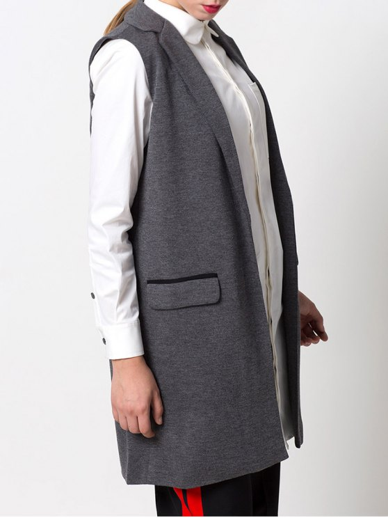 One-Button Waistcoat - GRAY M Mobile