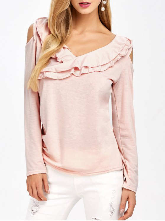 Cold Shoulder V Neck Ruffles T-Shirt - PINK XL Mobile