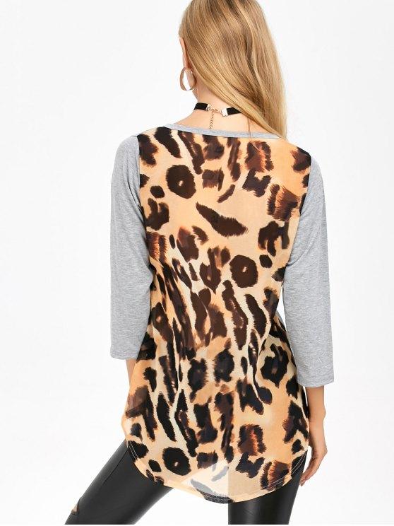 High Low Leopard Spliced T-Shirt - LEOPARD S Mobile