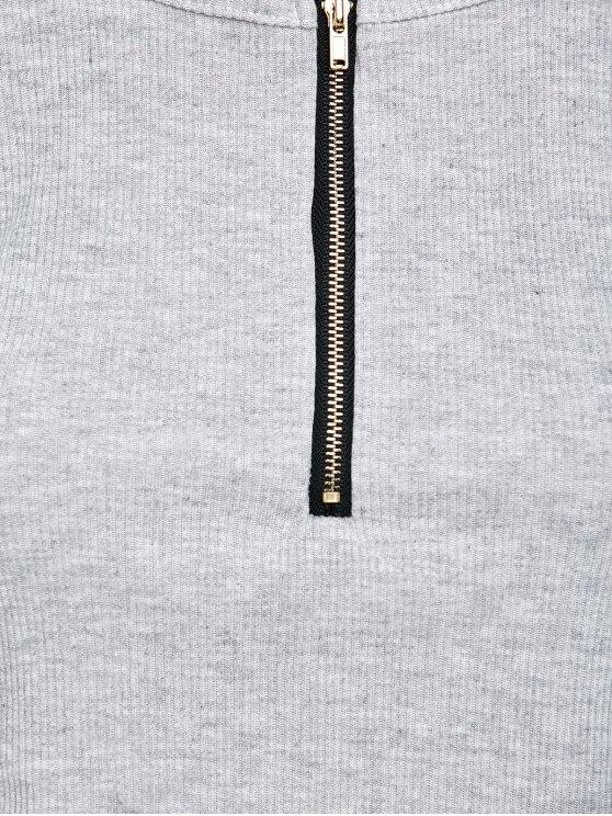Cold Shoulder Zipper T-Shirt - GRAY M Mobile