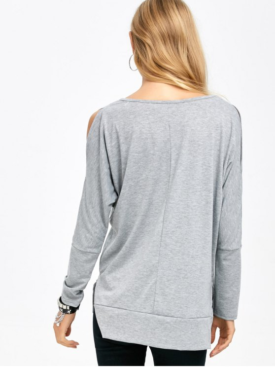 Side Slit Cold Shoulder T-Shirt - GRAY M Mobile