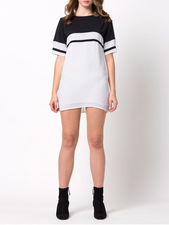 Color Block Casual Dress - WHITE M Mobile