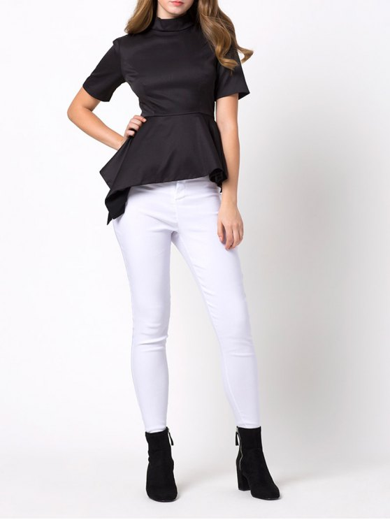 Asymmetric Blouse - BLACK M Mobile